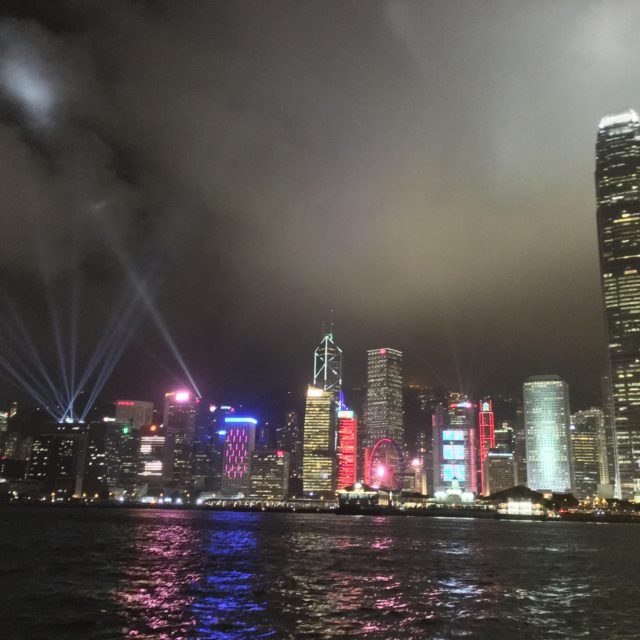 Hong Kong skyline during its nightly light show