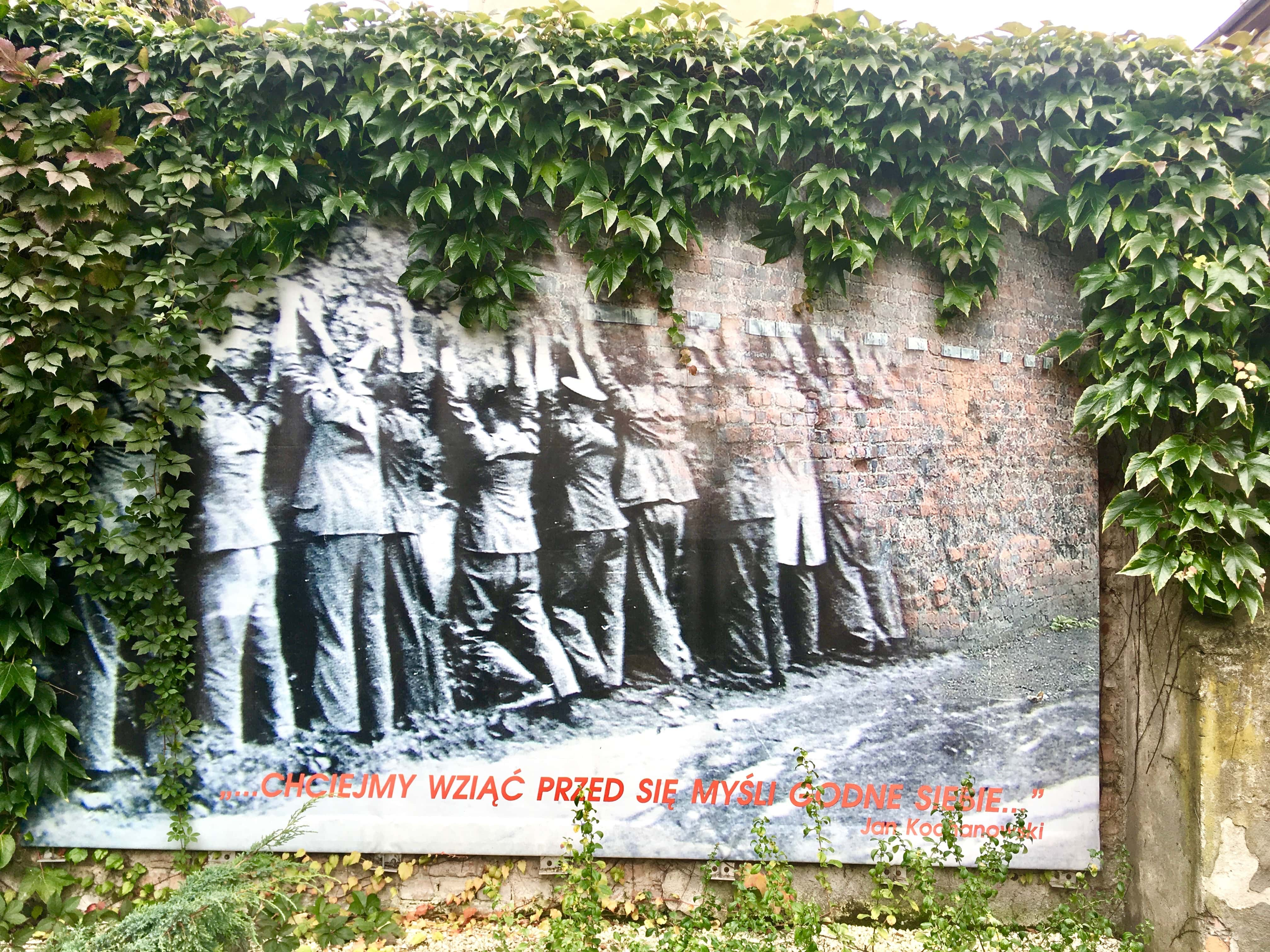 The photograph showing the surrendered postal workers against the wall
