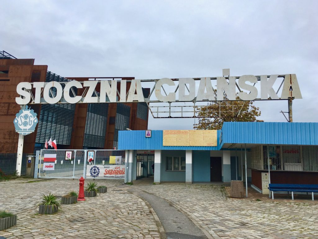 The entrance to the Gdansk shipyards outside the European Solidarity Centre