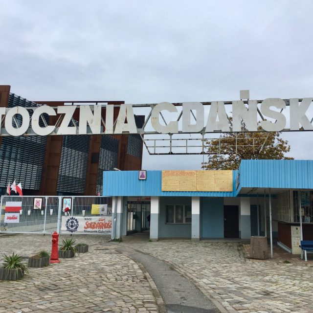 the entrance to Gdansk shipyards