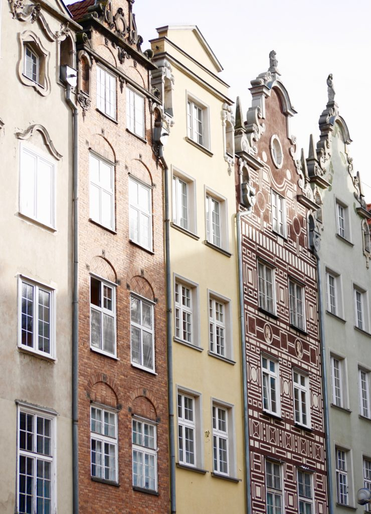 The colourful gabled buildings in Gdansk Old Town