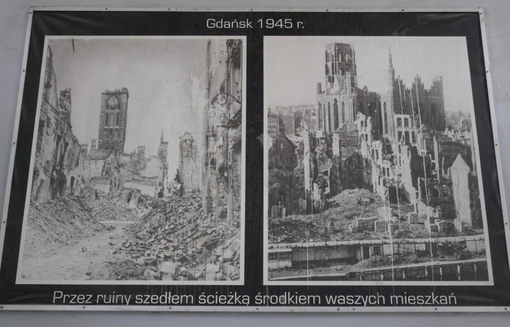 Photos showing the extensive bomb damage to Gdansk by 1945